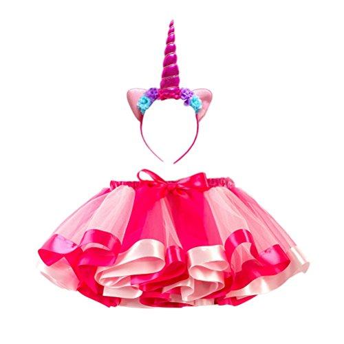 FENICAL Disfraz de Unicornio para Niñas Diadema Unicornio Floral con Oreja y Falda Tutú de Arco Iris Disfraz para Fiesta Rosado Tamaño S