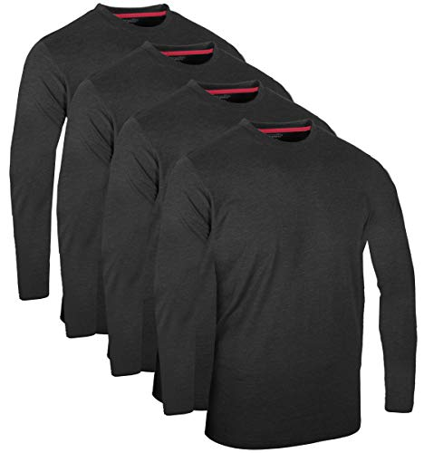 FULL TIME SPORTS® 3 4 6 Paquete Assorted Langarm-, Kurzarm Casual Top Multi Pack Rundhals Camisetas (XX-Large, 4 Pack - Long Sleeve Charcoal)