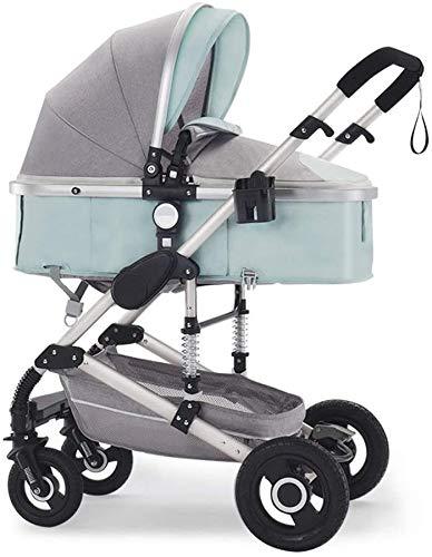 YZPTD Cochecito de bebé Paraguas Plegable, Carro de visión Alta antirramo, Carro de Aluminio para bebés, cochecitos de cochecitos compactos, Cesta de Almacenamiento, área de Asiento Grande