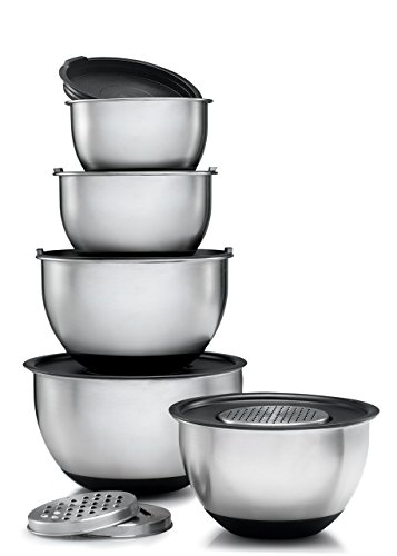 Sagler Stainless Steel Mixing Bowls Set of 5, with Lids and three form of graters