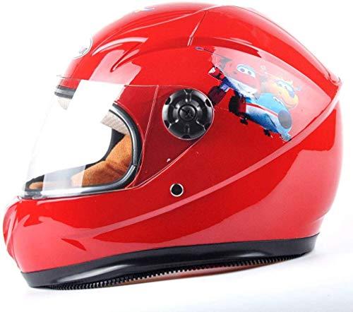 XZ Casco portátil para niños 'S ciclomotor eléctrico Niño y niña Adecuado para niños de 6-10 años,rojo