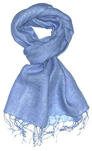 Lorenzo Cana Luxus Herrenschal Leinenschal 100% Leinen 70 x 180 cm Tuch Naturfaser Trendfarbe Hellblau 9330411