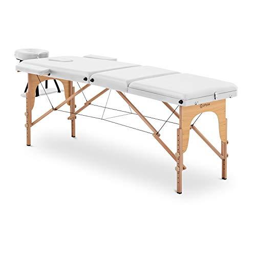 physa Camilla De Masaje Plegable Maleta Para Estética PHYSA MARSEILLE WHITE (Altura de camilla: 60-85 cm, Tapicería de PVC, Estructura en madera de haya)