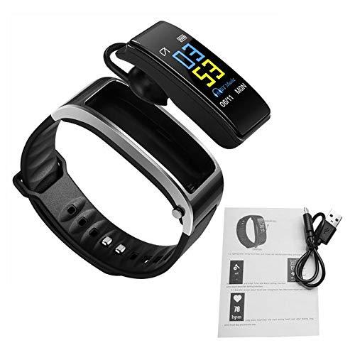 FairOnly Blueteeth Y3 Color Auricular Hablar Banda Inteligente Pulsera Monitor de Ritmo Cardíaco Deportes Reloj Inteligente Pasómetro Gimnasio Rastreador Pulsera Gris Plateado