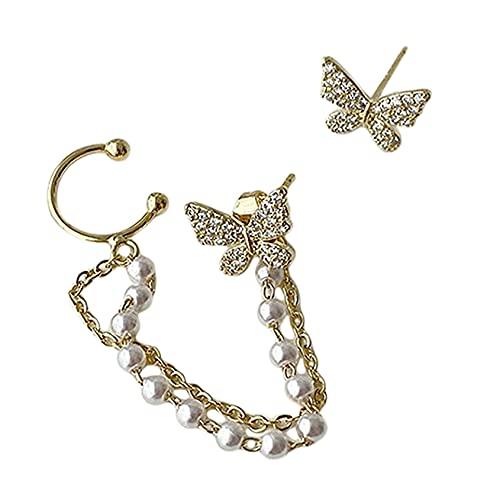 SMEJS, pendientes de cadena con borlas de mariposa, elegantes pendientes de Clip de oreja de mariposa con diamantes de imitación para mujer, pendientes de borla, joyería de fiesta