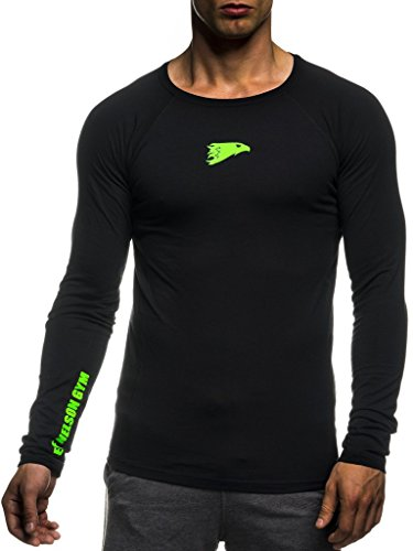 Leif Nelson Gym Herren Fitness Shirt Rundhals-Ausschnitt Slim Fit Langarm Männer Trainingsshirt Top Rundkragen Sport Sweatshirt - Hoodie für Bodybuilding Training 6283 Schwarz-Gruen Medium