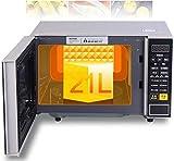 Rindasr Microondas pequeños digital de microondas del horno con la placa giratoria Push-puerta de botones, de acero inoxidable de línea, 7000W, 21L encimera microondas