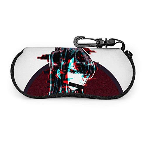 K O M I Glasses Case Sunglasses Soft Case Ultra Light Neoprene Zipper Eyeglass Case with Belt Clip
