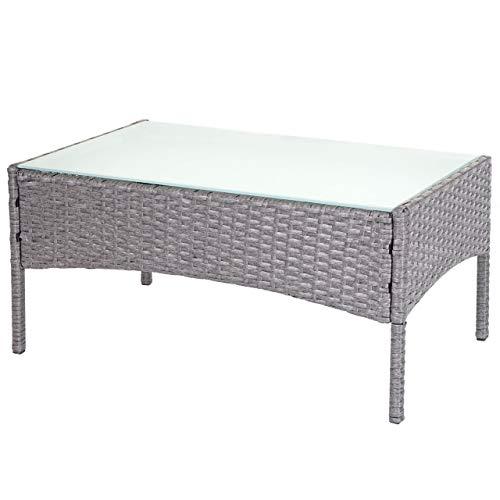 Mendler Poly-Rattan Gartentisch Halden, Beistelltisch Tisch mit Glasplatte - grau