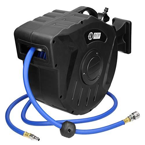 ECD Germany Carrete de manguera de aire comprimido neumático automático - 15 m - Conexión de 1/4'pulgada - para montaje en pared - Enrollador retráctil orientable en el murro