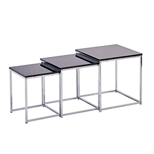 Huisenuk Modern Small Coffee Table Nest of Tables Set of 3 Black High Glossing Living Room Little Sofa Side Table Set Stackable Square Wood Tabletop Metal Frame Bedroom Furniture