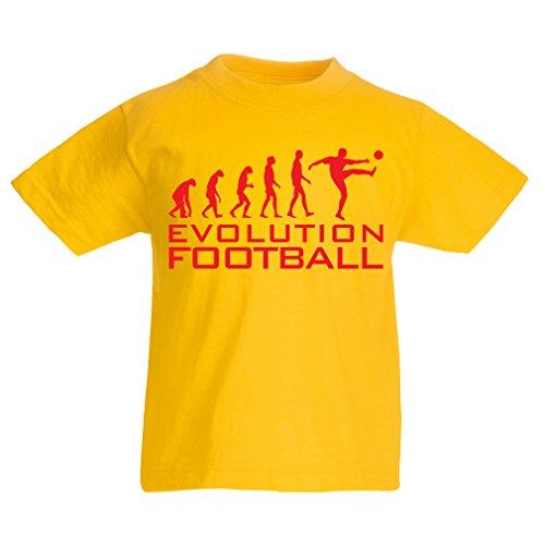 lepni.me Camiseta para Niño/Niña La evolución del fútbol - Camiseta de fanático del Equipo de fútbol de la Copa Mundial (9-11 Years Amarillo Rojo)