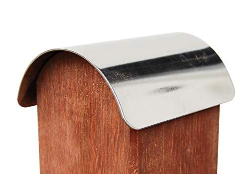 Pfostenkappe für abgerundete Holzpfosten 9x9 cm, EDELSTAHL abgerundet halbrund zum Einschlagen