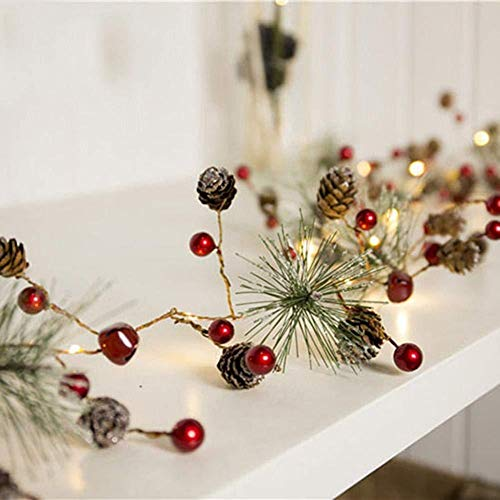 Christmas Pine Cones Garland Wreath LED Fairy String Lights Christmas Garland Battery Operated LED Lighted Mini Pine Cone Garland with Red Berries Perfect for Christmas Decorations and Gifts