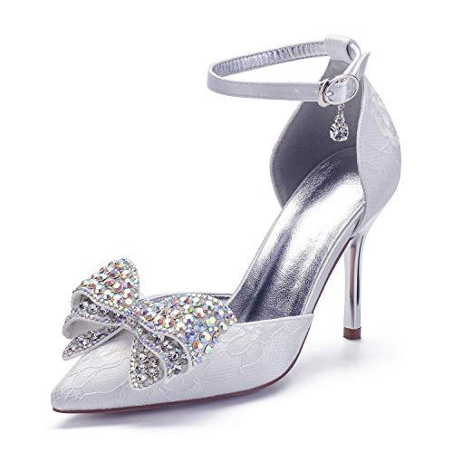 Zapatos de tacón medio para mujer, zapatos de boda con cristales de...