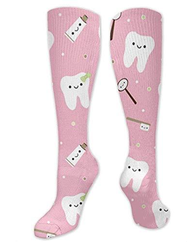 NA Heren & Vrouwen Casual Knie High Tube Sokken Mid-Calf Sokken Kostuum Cosplay Sokken Meisjes Nieuwigheid Sokken, Roze Tandpasta