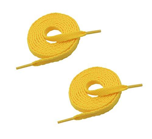 "VSUDO Preminum 35' Flat Golden Yellow Shoe Laces for Sneakers, 5/16"" Flat Golden Yellow Shoe Strings for Sneakers, Athletic Replacements Flat Shoelaces for Women or Men (1 Pair-Golden Yellow-90CM)"