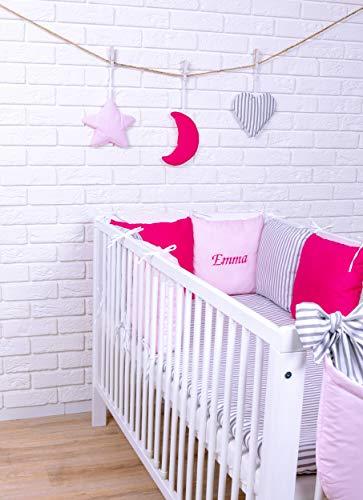 Amilian® Baby Bettwäsche Design43 mit Namen und Datum bestickt Nestchen Bettset 100x135 für Babybett Decke Kissen Bettumrandung