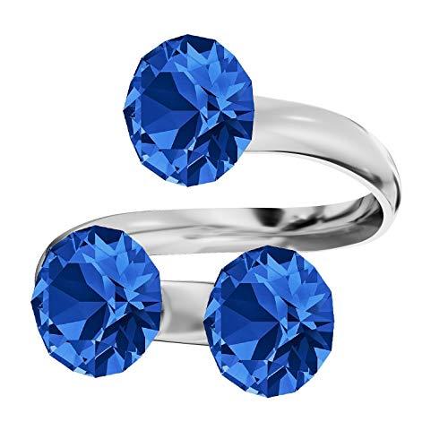 **Beforya Paris** Ring Dreifach *XIRIUS* *Viele Farben* Swarovski® Elements - 925 Sterling Silber Damen Ring Größe Verstellbar! Sheer elegante Ring! PIN/75 (Sapphire)