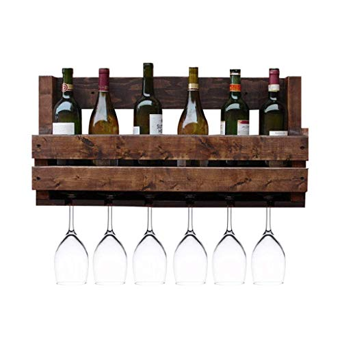 YO-TOKU estante del vino montado en la pared sólida casa de madera viva estante estante estante de la barra de la pared de almacenamiento de vino botellero habitación Vino Bastidores decoración del ho