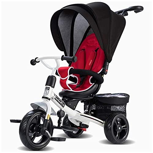 NUBAO Triciclo Evolutivo Toral Triciclo de bebé, 4 en-1 Steer Stroller Aprendizaje Bicicleta Detachable Guardrail Ajustable Canopy Safety Harness Pedal Plegable 10 Meses-6 años (Color : A)