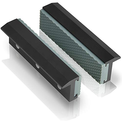 """TRISENSE Vise Jaw Covers,Aluminum Multipurpose 4""""Soft Vice Inserts-Use On Any Drill Press Vise As Accessories,Black Vise Jaws Pads(2 Pack In 1)"""