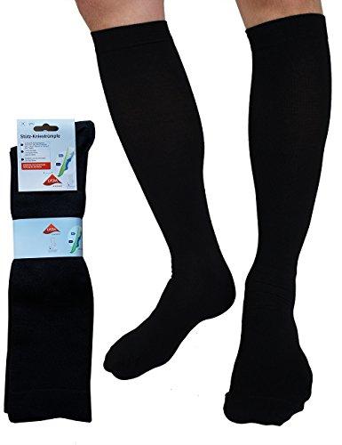 etrado fashion 2 Paar Reisestrümpfe mit gradueller Kompression für Damen & Herren - Handgekettelt Gr.39-42, Schwarz