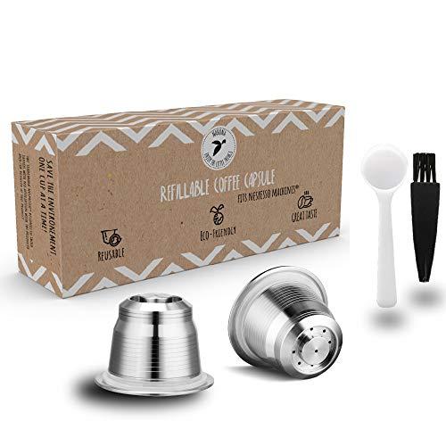 2x Nespresso Capsule de café rechargeable en acier inoxydable à remplir – Capsule de recharge réutilisable pour les amateurs de café soucieux de l'environnement compatible avec les machines Nespresso