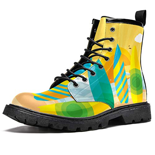MAPOLO Boots for Men Surfboards Beach Print Fashion Men's High Top Boots Outdoor Sneakers Custom Shoes Slip Resistant Warm Snow Boot