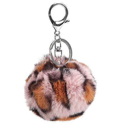 CuiGuoPing Leopard Ball Car Key Chain Key Ring for Car Purse Handbag Decoration Soft Plush (Pink)