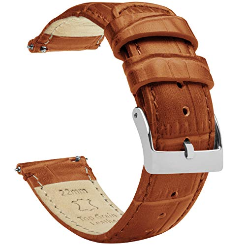 Barton - Cinturino in pelle per orologio, motivo coccodrillo, a sgancio rapido, colori e lunghezze assortiti, misure standard o lunghe 19mm Toffee fibbia marrone e acciaio inossidabile