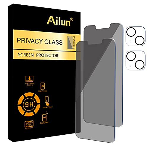 Ailun 2Pack Privacy Screen Protector Compatible for iPhone 13 Mini [5.4 inch] + 2 Pack Camera Lens Protector,Tempered Glass Film,[9H...