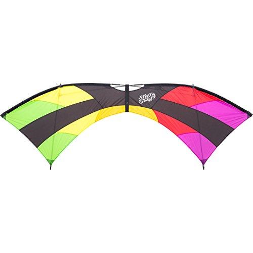 HQ 11939230 - Mojo Rainbow, Vierleiner Lenkdrachen, ab 12 Jahren, 75x222cm, inkl. 50kp Dyneemaschnüre 4x20m auf Quad-Griffen, 2-4 Beaufort