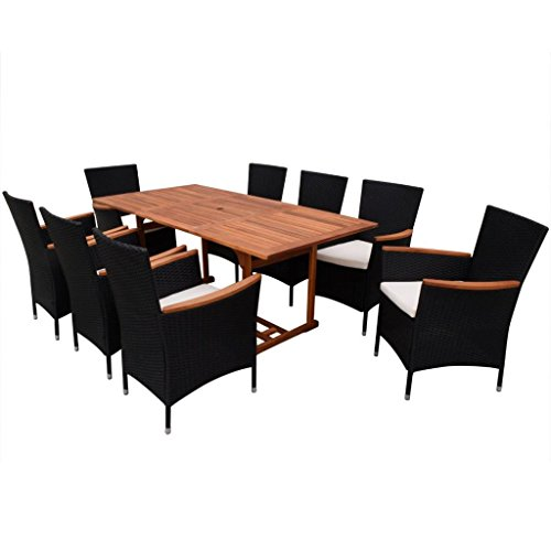 Festnight 9 Piece Outdoor Patio Rattan Wicker Furniture Dining Table Chair Set Black