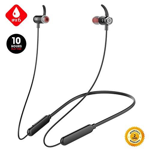 Junesh [2020 Newest] Sport Bluetooth Headphones, Premium 10hrs Bluetooth Earphones, Neckband Headphones with Mic,IPX6 Waterproof Wireless Earbuds,HiFi Bass Magnetic Earbuds for Running Workout Gym