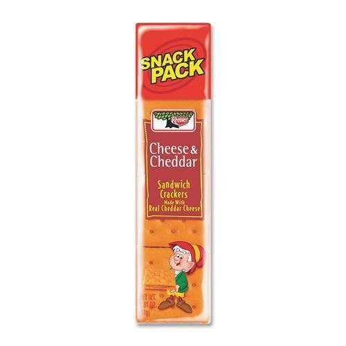 Keebler 21147 Cheese and Cheddar Sandwich Crackers - Cheddar Cheese - 3 oz - 12 / Box
