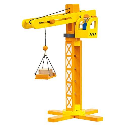Bino & Mertens 84087 Holz-Baukran, bunt, 14 tlg., mit reichhaltigem Zubehör für die Ausstattung der Baustelle.