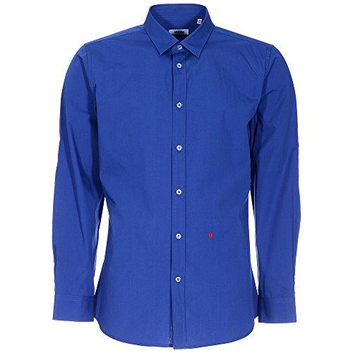 Moschino Herren Business-Hemd Blau Blue Solid Gr. 104 cm/ 41 cm, Blue Solid