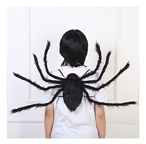 Halloween Decorations Spider Costume Props, Red Eyes, Realistic Big Spider with Strap and Pocket, Storage Candy Sweets, Party Masquerade Prop for Kid & Adults (A)