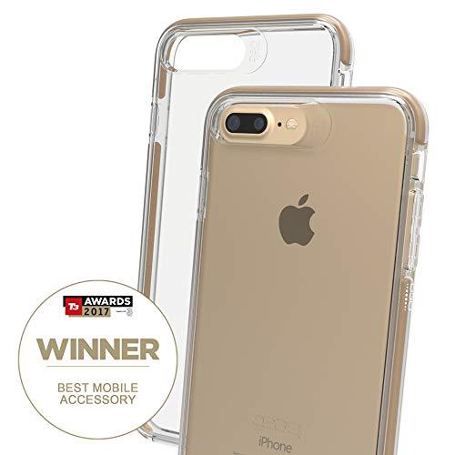 Gear4 Funda Transparente Piccadilly con protección Avanzada contra Impactos [Protegida por D3O], Diseño Delgado y Resistente para iPhone 7/8 Plus - Oro