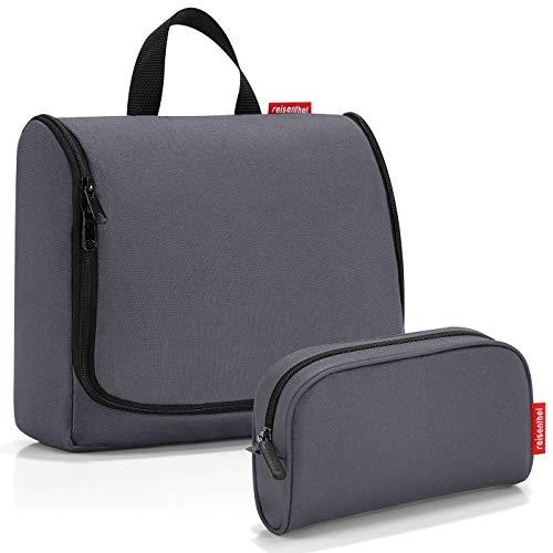 reisenthel Exklusiv-Set: toiletbag XL 28x25x10cm große Kulturtasche zum aufhängen aufklappbar + GRATIS makeupcase (Graphite grau)