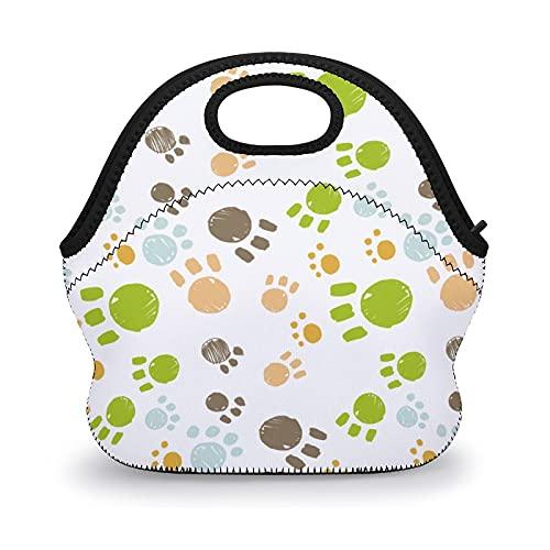 Bolsa de almuerzo reutilizable con diseño de arco iris, con diseño de patas de perro, bolsa de almuerzo para niños, mujeres, escuela, trabajo, picnic, bolsa