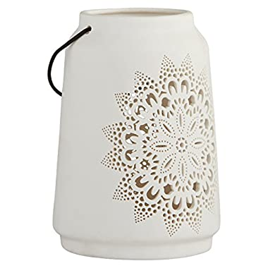 Stone & Beam Modern Farmhouse Die Cut Lantern, 7  H, White