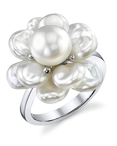 White Keshi agua dulce anillo perla cultivada forma