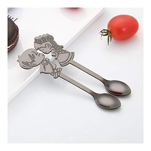 LQW HOME Juego de 2 cucharaditas de acero inoxidable para parejas, cuchara de café, postre, helado, cuchara de té, cocina, vajilla, suministros de boda, restaurante (color negro)