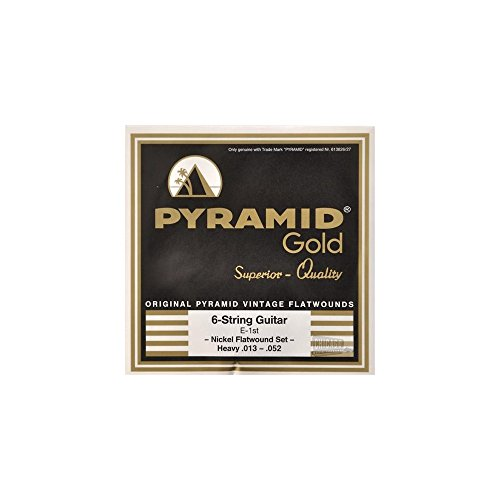 Pyramid Gold Chrome Nickel Flat Wound Electric Guitar Strings 13-52