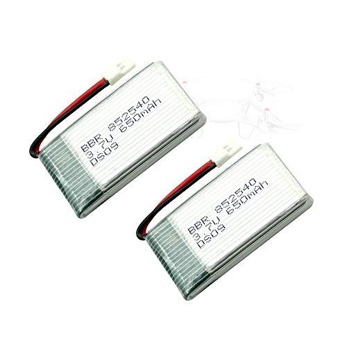 Godyluck- 3.7V 650mAh Lipo Batería 2pcs y Cable de Carga USB Compatible con RC Drone Syma Heliway Skytech Cheerson Holy Stone Walkera
