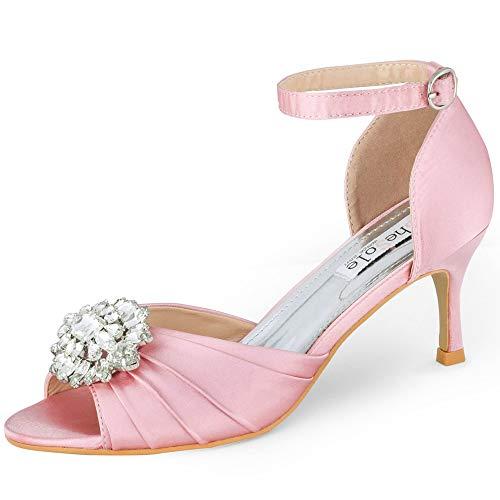 SheSole Damen Sandalen Peeptoes Pumps mit Riemchen Hochzeit Brautschuhe Rosa 39