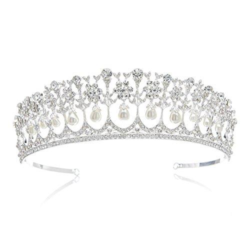 SWEETV Edel Perle Kristalle Hochzeit Krone Braut Tiara Retro Stil Diadem für Festzüge Abschlussbälle, Silber