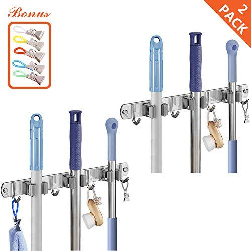 Broom Mop Holder Wall Mounted - Broom Storage Rack Utility Hanger 3 Racks 4 Hooks for Bathroom Home Kitchen Office Closet Garage Stainless Steel Heavy Tool Storage Rack 30 Inch